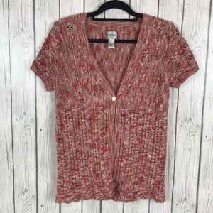 Chico's Short Sleeve Cardigan Sweater  8 Chicos 1